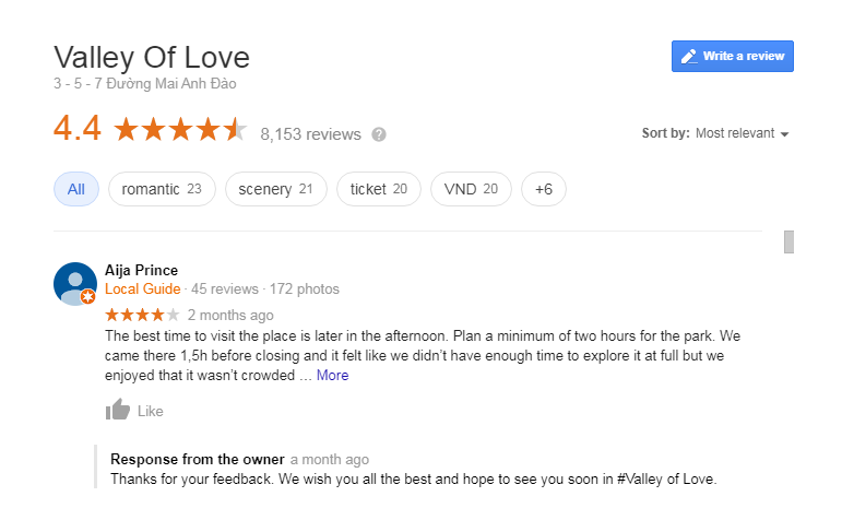 Review Dalat Valley of Love on Google
