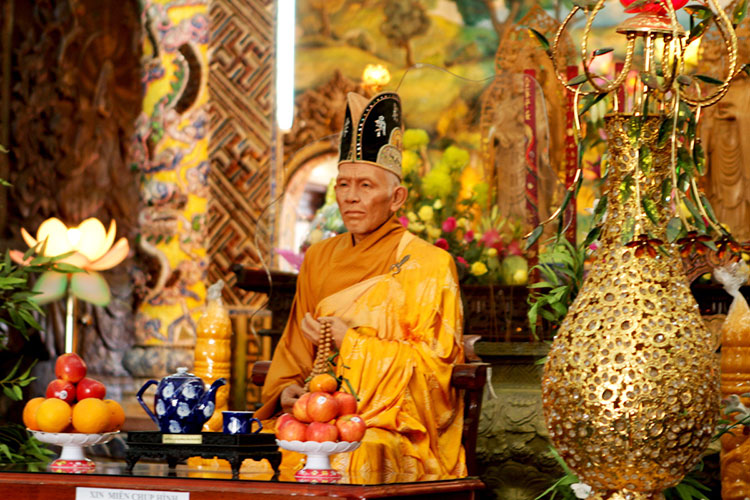 A realistic wax figure of the temple