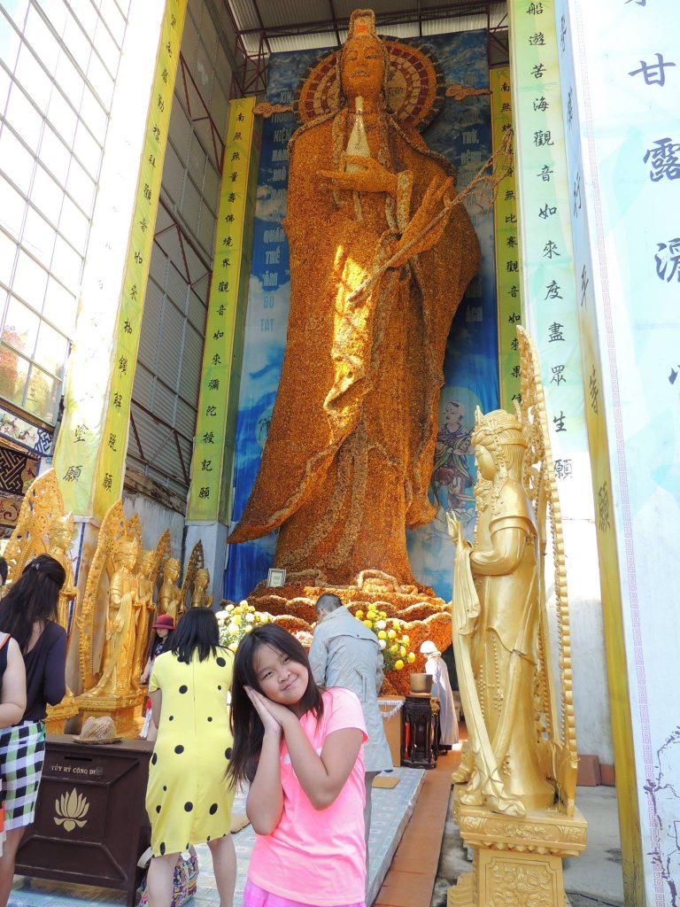 The world largest Bodhisattva Avalokitesvara statue made of immortal flower
