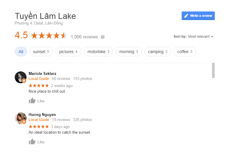 Tuyen Lam lake review