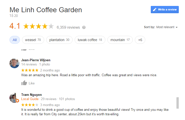 Me Linh Coffee Garden Review