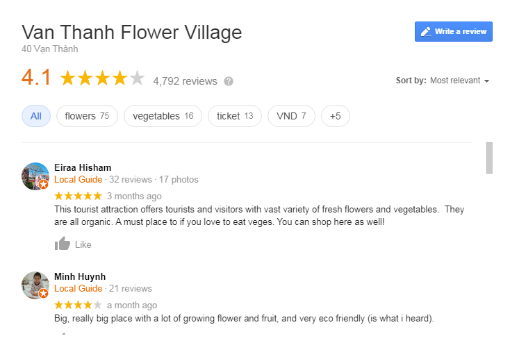Van Thanh Flower Village Review