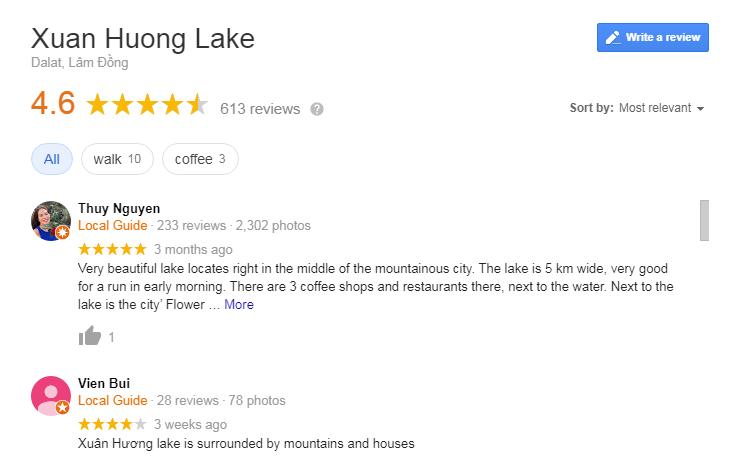 Xuan Huong lake Review